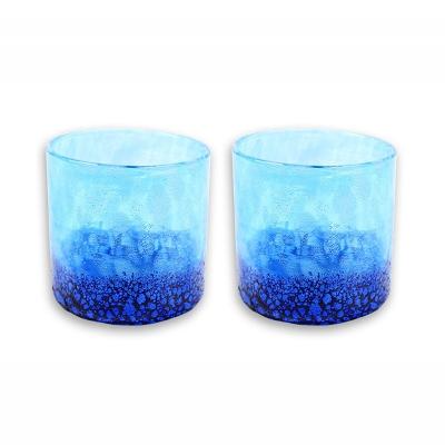 【ふるさと納税】琉球ガラス コバルトロックグラス 2個セット
