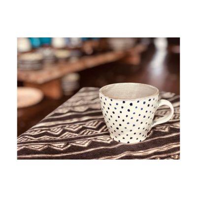 広口マグカップ【白・青ドット】 【ふるさと納税】南陶窯