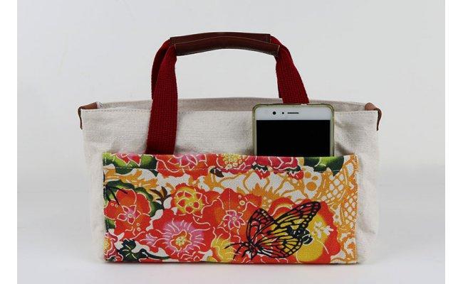 【ふるさと納税】[琉球帆布]【レザーRYUKAバタフライ】バッグインバッグ