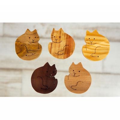 【ふるさと納税】沖縄の木で作った 猫の箸置き4つ(アソート)