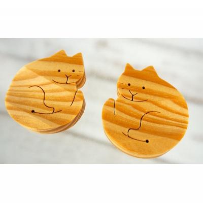 【ふるさと納税】沖縄の木で作った 猫の箸置きペア(琉球松)