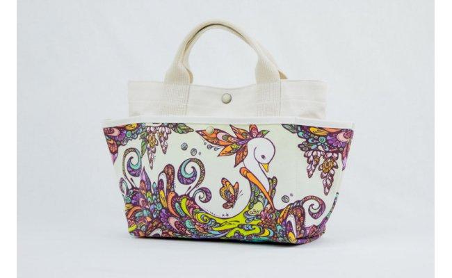 【ふるさと納税】[琉球帆布]お散歩バッグ (POKKE104デイゴの髪飾り)