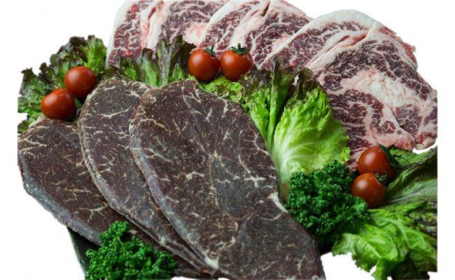 【ふるさと納税】【沖縄県産黒毛和牛】熟成肉のステーキセット(ランプ・リブロース)