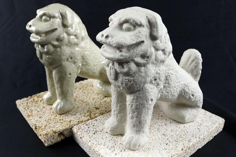 【ふるさと納税】富盛の石彫大獅子【レプリカ】2体セット