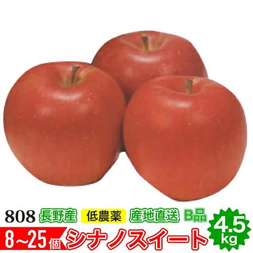 シナノスイート 激安セール v低農薬 有機肥料栽培 リンゴ を長野の農園から直送 送料無料 減農薬 りんご B品 10g 約4.5kg 25%OFF 小山 林檎 8~25個入 産地直送 SSS 長野産リンゴ