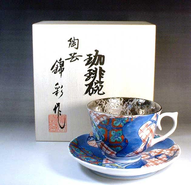 有田焼 染錦プラチナ彩花鳥絵コーヒーカップ 陶芸作家 藤井錦彩 作