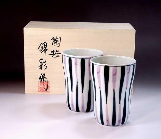 陶器焼酎グラス・ロックグラス有田焼 染付線文様焼酎カップ・ペア 陶芸作家 藤井錦彩 作