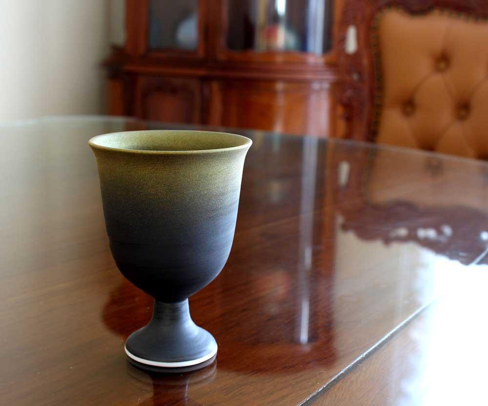 有田焼陶器ワイングラス窯変金彩ワインカップ陶芸作家 藤井錦彩 作
