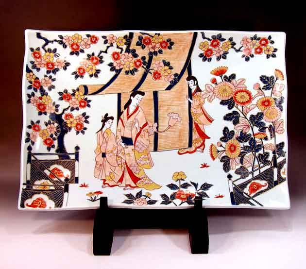 有田焼美術品倣・古伊万里染錦金彩元禄美人絵飾り角皿陶芸作家 藤井錦彩 作