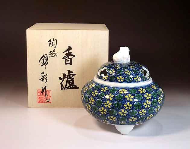 有田焼・伝統工芸染錦小花文様香炉陶芸作家 藤井錦彩 作