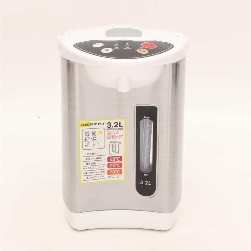 操作しやすいプッシュボタンとシンプルなパネルで簡単操作! 電気ポット 3.2リットル 3段階 保温機能付き 温度調整 おしゃれ 電動給湯ポット