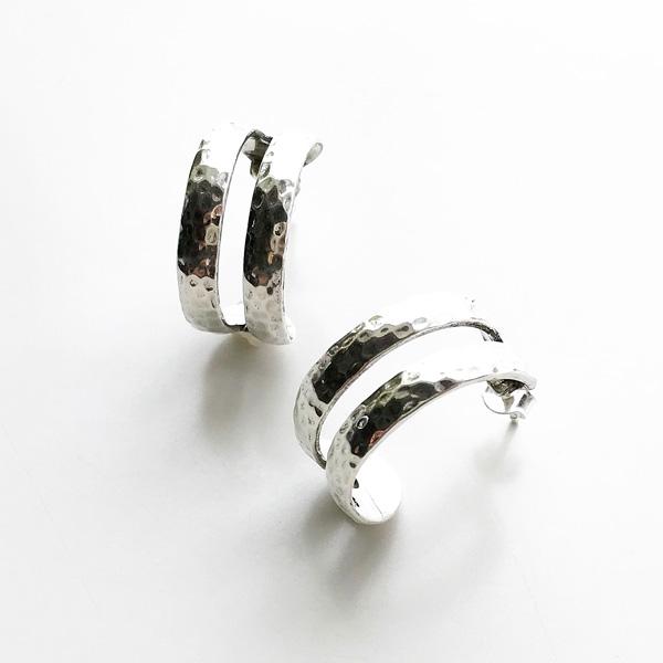 【PHILIPPE AUDIBERT/フィリップオーディベール】Besna hoop earring brass silver color,フープ ピアス イヤリング ベーシック シルバー オシャレ 人気 シンプル ジュエリー アクセサリー ブランド