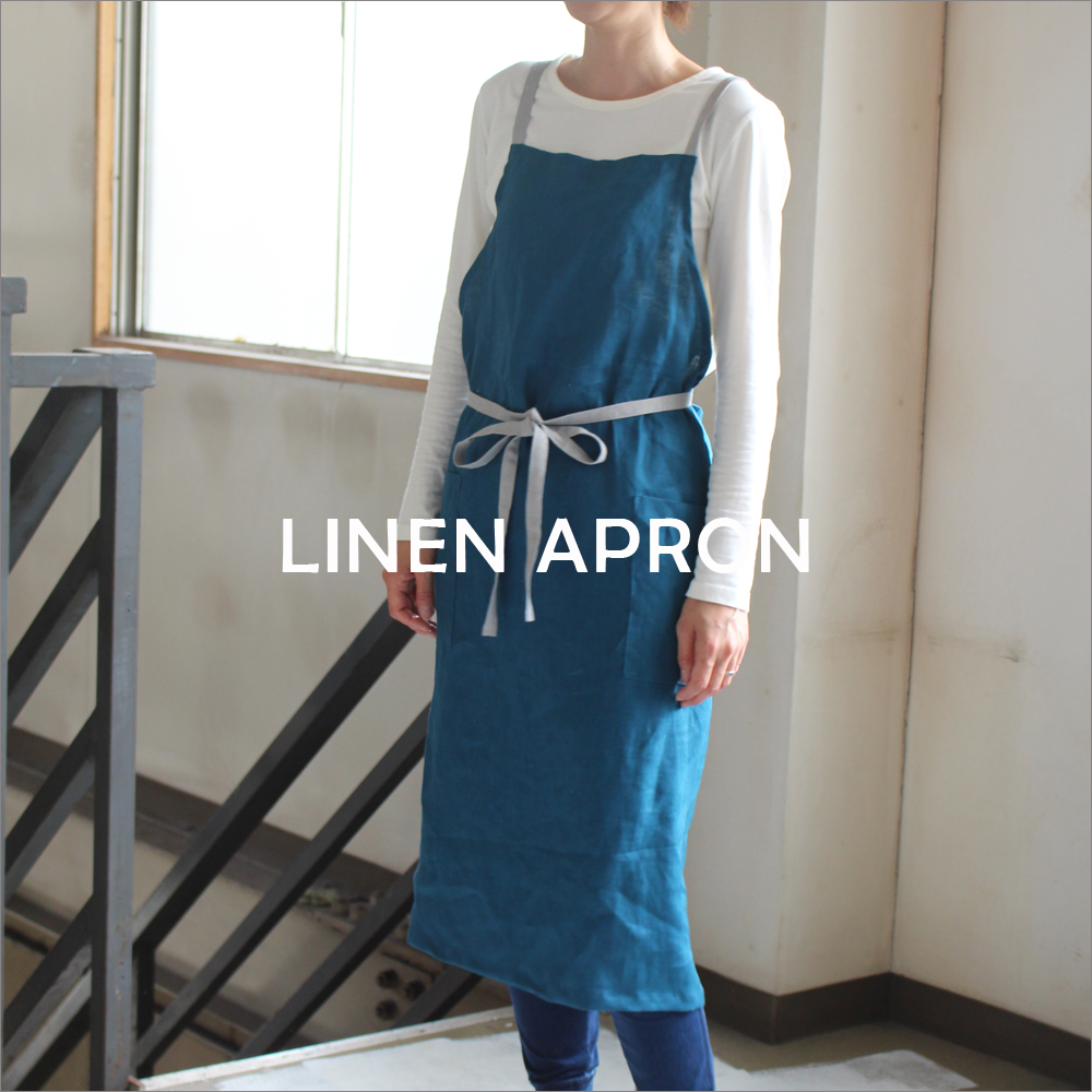 FABMAオリジナルリネンエプロン リネンエプロン 肩紐バッククロス 日本製 内祝い フレンチリネン仕様 LINEN apron FRENCH 定価 long