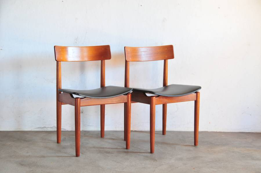 Teak dining chair 2set Model TROEDS チークビンテージチェア