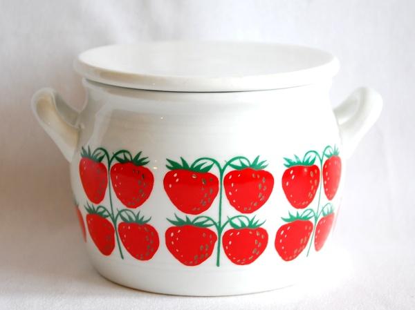 Arabia Pomona Strawberry Jam Pot w/lid アラビア Kaj Franck
