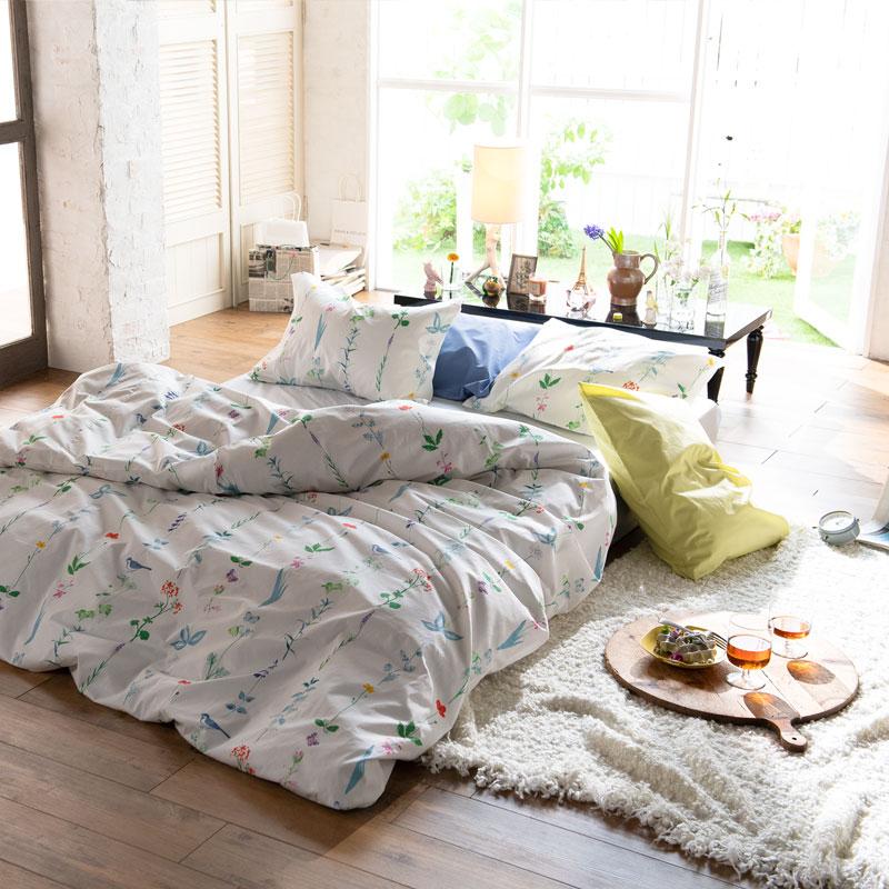【Fab the Home】フロリスト/マルチ 布団カバーセット枕カバーL 2枚+掛け布団カバーD 1枚 染料プリント