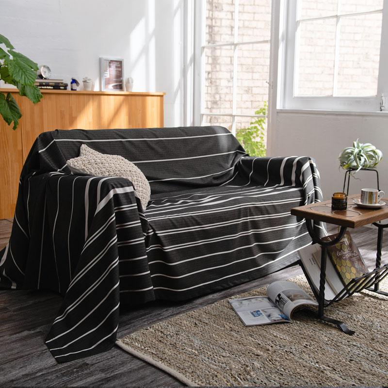 【Fab the Home】 ゼブラノ/チャコール マルチカバー 3人用:210x270cm 先染 ソファカバー等多用途に使えます