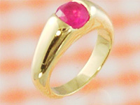 赤ちゃんに幸運を運ぶ小さな指輪 プリモ 百貨店 ゴールドベビーリングK18 ルビー 出産記念 First Mother's 本日の目玉 出産祝い 誕生祝い Day