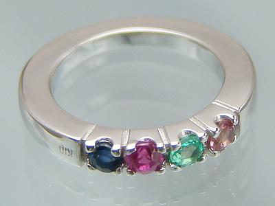 リングに刻印できて4個の宝石が選べるベビーリングサイズの大きなハーモニーリング/K10ホワイトゴールド出産記念 誕生祝い 出産祝い