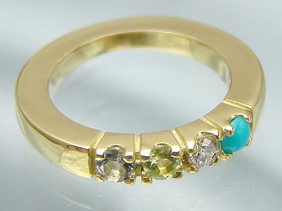 リングに刻印できて4個の宝石が選べるベビーリングサイズの大きなハーモニーリング/K18イエローゴールド出産記念 誕生祝い 出産祝い