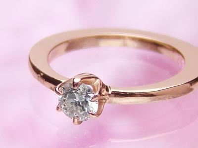 刻印できるサイズの大きなベビーリング ドリーム/K10ピンクゴールド[ダイヤモンド]出産記念 誕生祝い 出産祝い
