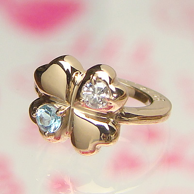 【送料無料】2つの宝石が選べる四葉のベビーリングK10ピンクゴールド【刻印タイプ】出産記念 誕生祝い 出産祝い First Mother's Day