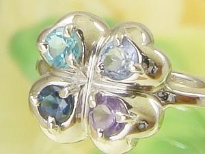 【送料無料】4つの宝石を選べる四葉のクローバーベビーリングK18ホワイトゴールド【刻印タイプ】出産記念 誕生祝い 出産祝い First Mother's Day