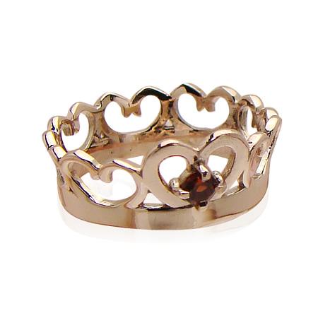 刻印できるちょっと大きめサイズのクイーンベビーリング/K18PG(ピンクゴールド)[ガーネット(1月の誕生石/天然宝石)]出産記念 誕生祝い 出産祝い