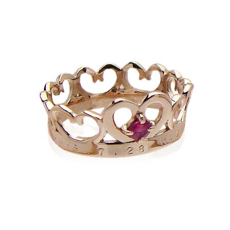 刻印できるちょっと大きめサイズのクイーンベビーリング/K18PG(ピンクゴールド)[ルビー(7月の誕生石/天然宝石)]出産記念 誕生祝い 出産祝い