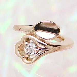 刻印できるスプーンのデザインベビーリング K18ピンクゴールド ダイヤモンド 送料無料 刻印無料出産記念 誕生祝い 出産祝い First Mother's Day