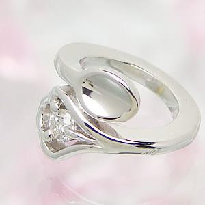 刻印できるスプーンのデザインベビーリング K18ホワイトゴールド ダイヤモンド 送料無料 刻印無料出産記念 誕生祝い 出産祝い First Mother's Day
