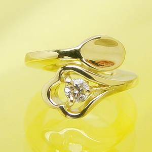 刻印できるスプーンのデザインベビーリングK18イエローゴールド[ダイヤモンド]出産記念 誕生祝い 出産祝い First Mother's Day