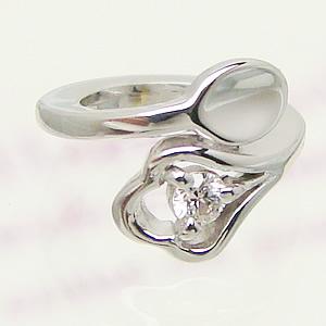 刻印できるスプーンのデザインベビーリングプラチナ[ダイヤモンド]出産記念 誕生祝い 出産祝い First Mother's Day
