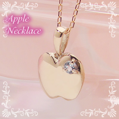 アップル(りんご)天然誕生石ペンダント/K10ピンクゴールド[アクアマリン]※ネックレスチェーン付き