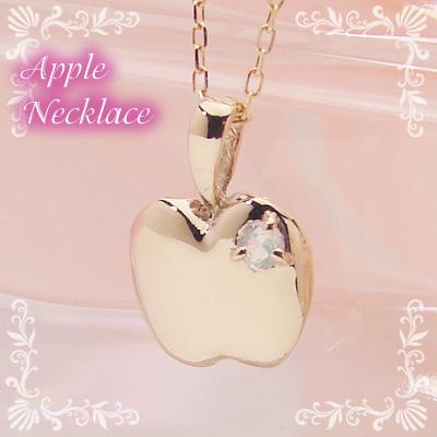 アップル(りんご)天然誕生石ペンダント/K10ピンクゴールド[ムーンストーン]※ネックレスチェーン付き