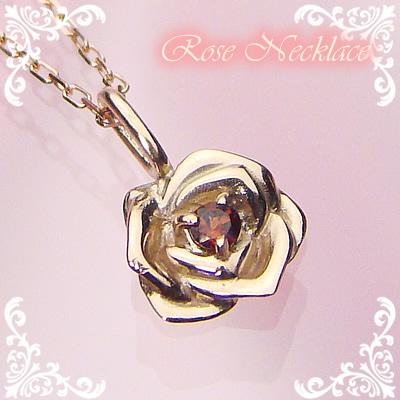 ローズ(薔薇)天然誕生石ペンダント/K10ピンクゴールド[ガーネット]※ネックレスチェーン付き