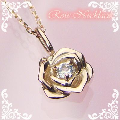 ローズ(薔薇)天然誕生石ペンダント/K10ピンクゴールド[ムーンストーン]※ネックレスチェーン付き
