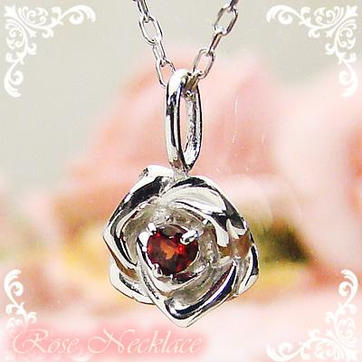 ローズ(薔薇)天然誕生石ペンダント/プラチナ[ガーネット]※ネックレスチェーン付き