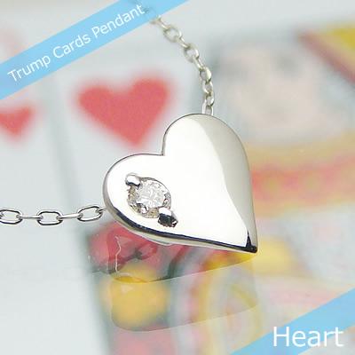 トランプハート天然誕生石ペンダント/プラチナ[ダイヤモンド]※ネックレスチェーン付き