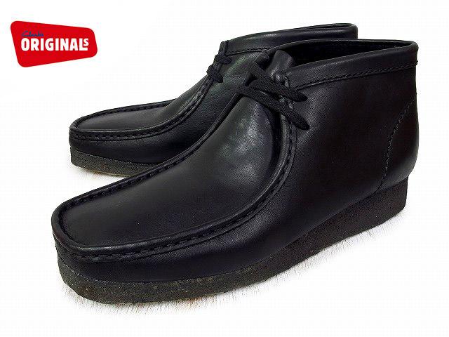クラークス ワラビーブーツ CLARKS WALLABEE BOOT 26103666 ブラックレザー US規格 メンズ ブーツ men's boots