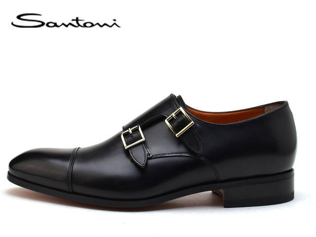 サントーニ 靴 シューズ SANTONI 15006 ダブルバックル ダブルモンク ブラック N01【送料無料!】メンズ ビジネス ドレス
