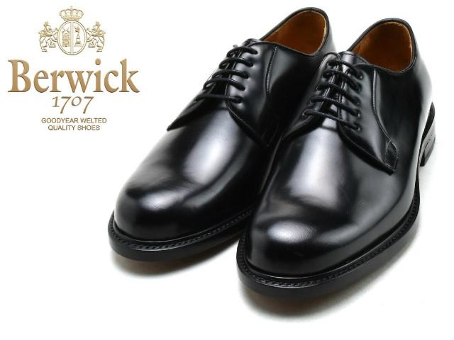 バーウィック 期間限定 プレーントゥ BERWICK 3680 完全送料無料 ブラック ビジネス K4 メンズ