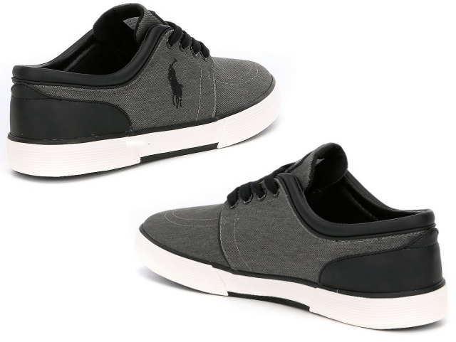 Polo Men Low Faxon Ralph Lauren Sneaker Washed Sneakers Black 816690285001 A5Sj4Rc3Lq
