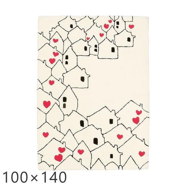 ラグ ホワイト かわいい ラグマット ハッピータウン 100×140cm プレーベル カーペット ラグ 子ども部屋 ホットカーペット対応 ラグ