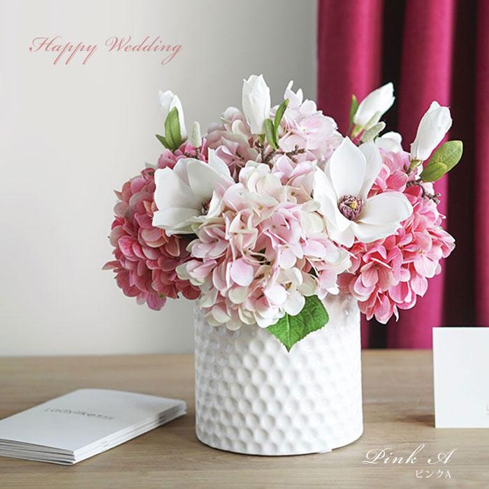 ウエディングブーケ 紫陽花ブートニア 結婚式 ラウンド型ブーケ 造花 ウェディング用 アレンジメント 花嫁 披露宴 森ガール