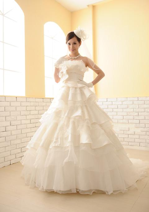 【サイズオーダー】【5~17号】ウェディングドレス ふわっふわ高級感たっぷりフリル D-1105-D03