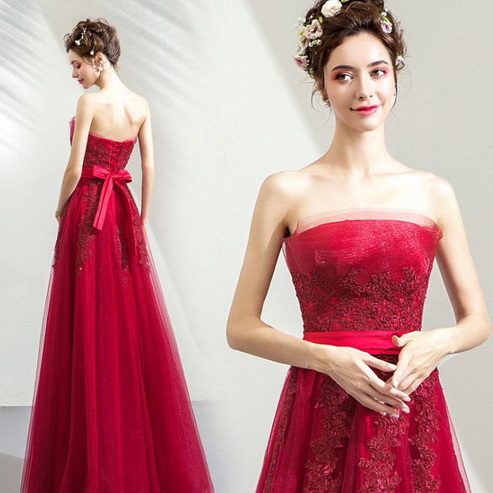 カラードレス ビスチェタイプロングドレス パーティードレス・シフォン透け感・赤 結婚式/パーティー/ロング/二次会 海外ウエディング 発表会 サイズXS~XXXL 大きいサイズ 小さいサイズ
