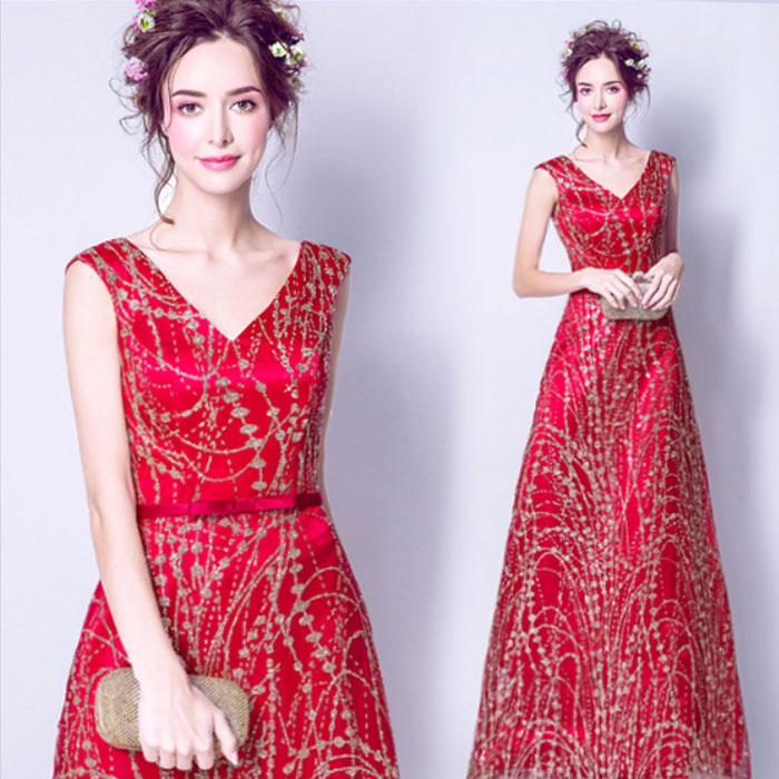 カラードレス Vネック 金模様が華やか パーティードレス・リボン・赤  結婚式/パーティー/ロング/二次会 海外ウエディング 発表会 サイズXS~XXXL 大きいサイズ 小さいサイズ
