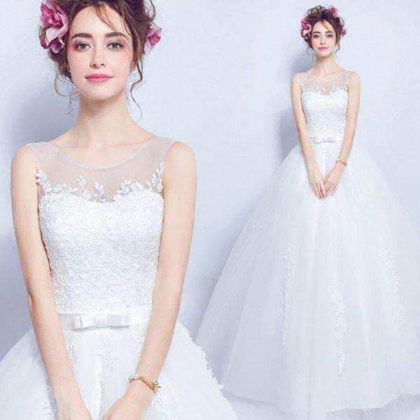 ウェディングドレス ビスチェ風プリンセスライン ノースリーブ 海外ウエディング 発表会 XS~XXXL 大きい 小さいサイズ 結婚式/二次会