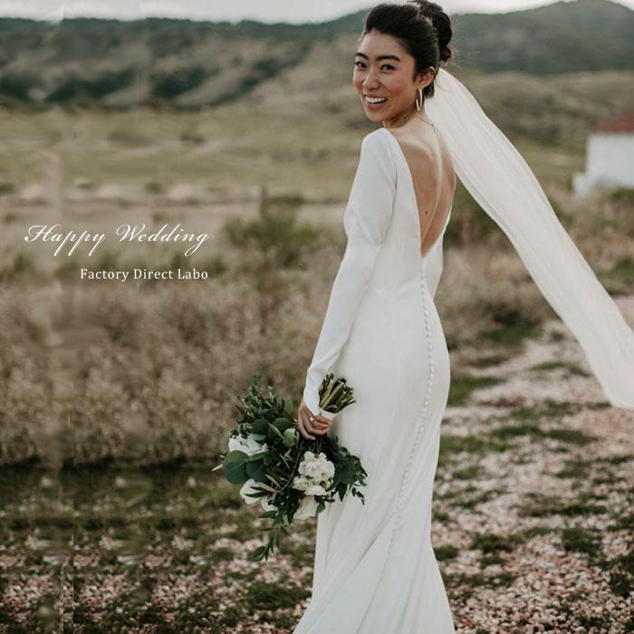 ウェディングドレス スレンダーライン シンプル 海外ウエディング 発表会 結婚式/パーティー/ロング/二次会